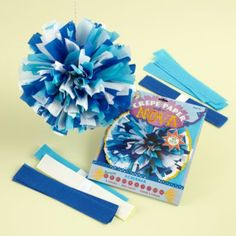 Blue Hanging Paper Blooms Kit
