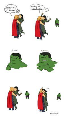 Loki's trapped between the dreaded Thor-Hug and Hulk-Smash.