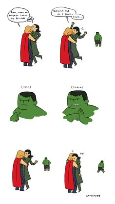 Loki's trapped between the dreaded Thor-Hug and Hulk-Smash.
