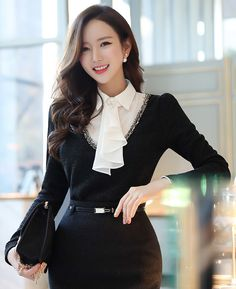 Pearl Brooch Ruffle Tie Collared Blouse #black #blouse #pearl #brooch #ruffle #tie #elegant #officelook