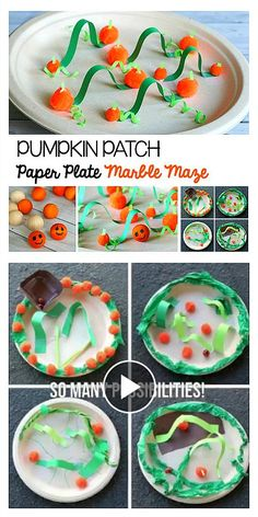 Halloween STEM or Fall STEM Challenge for Kids: Watch how to make a pumpkin patch themed paper plate marble maze in this science video! Fun physics exploration for kids! ~ BuggyandBuddy.com