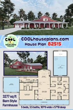 This house Plan is a very modern farmhouse with a barn inspired exterior. The barn-like curb appeal feels fresh and sleek with long vertical siding and a massive covered front porch perfect for a porch swing and a few rocking chairs to enjoy a glass of cold lemonade on a hot summer afternoon. A unique floor plan with a 4 bedroom cluster off of a central living area. A huge master bedroom, large walk-in closets, an open floor plan, large mud/laundry room and open loft above. #farmhouse… Pole Barn House Plans, Pole Barn Homes, Dream House Plans, Farmhouse Floor Plans, Modern Farmhouse, Porch Swing, Front Porch, Vertical Siding, Huge Master Bedroom