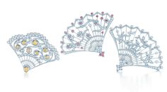 Brooches in platinum (Yellow and white diamonds, Pink and white diamonds, White diamonds). From Tiffany's Great Gatsby Collection.