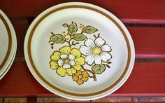 Three Vintage Imperial Stoneware Dinner Plates Summertime Japan Replacement Plate on Etsy, $18.00