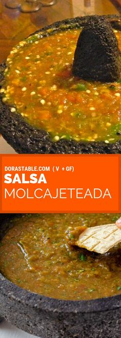 Molcajete Salsa a summer salsa made in your molcajete with chile poblano serrano and jalapeno onion tomato and garlic. Best Mexican salsa ever! Tomatillo Salsa Verde, Habanero Salsa, Jalapeno Salsa, Corn Salsa, Salsa De Habaneros, Mexican Salsa Verde, Salsa Verde Recipe, Spicy Salsa, Salsa Molcajete Recipe