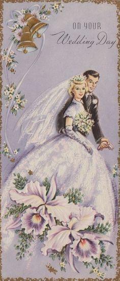1960s Wedding, Vintage Wedding Cards, Vintage Greeting Cards, Vintage Bridal, Vintage Postcards, Purple Wedding, Wedding Bride, Bouquet Wedding, Wedding Greetings