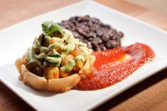 SOPES WITH PLANTAINS, ZUCCHINI AND TWO SAUCES - Ever since we returned from Costa Rica, I've been looking for a dish with plantains.  I hope this dish tastes as delicious as it looks!