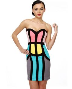 Divide and Contour Color Block Strapless Dress