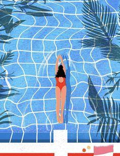 Nordic Art, Guache, People Illustration, Graphic Design Inspiration, Illustrations Posters, Wall Prints, Decoration, Illustrators, Swimming Pools