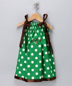 Take a look at this Green Polka Dot Monogrammed Dress - Infant, Toddler & Girls by Cozy Bug on #zulily today!