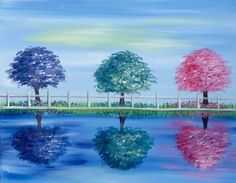 Paint Nite - Three Trees in Spring
