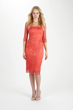 Maui Coral Lace Dress £129.00  Stretch lace pencil dress created in a coral hue for Spring Summer. The pencil cut combined with the square neckline are ultra flattering. Delicate, lace three quarter sleeves add a feminine feel to this design. Stretch lace overlays an inner layer of stretch woven lining creating a smooth, streamlined silhouette