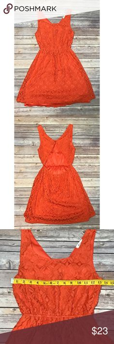 Orange, lace, open backed, Everly dress- Small Adorable, orange, lace, open backed, fully lined dress by Everly. Excellent used condition- no holes, stains, pilling, or other signs of wear. Size Small with an elasticated waist and slight overall stretch. Measurements included in photos. Super cute for this time of year! Offers welcomed :) Everly Dresses