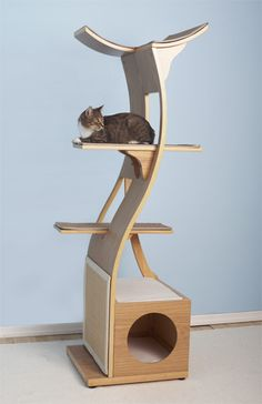 Lets just not look at the price, Lotus Cat Tower Cat Climbing Wall, Living With Cats, Cat Towers, Wood Animal, Cat Playground, Cat Scratcher, Cat Room, Cat Condo, Pet Furniture