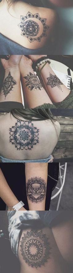 Large Geometric Mandala Tattoo Ideas for Women - Small Lotus Wrist Tatt - Black Henna Rib Tat - Owl Back Tatouage - MyBodiArt.com