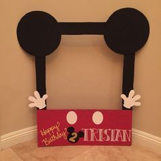 DIY cardboard photo frame for Mickey Mouse clubhouse party.
