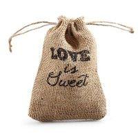 Wish | 10 Rustic Love Is Sweet Burlap Drawstring Favor Bag Bridal Shower Wedding Favors