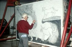 Rufino Tamayo drawing on a monster-size litho stone!
