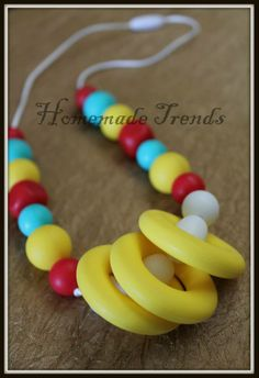 Food Grade Silicone, BPA/PVC free Teething Necklaces  www.facebook.com/homemadetrends