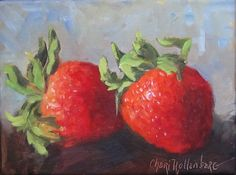 Red Strawberries Original Food Painting 6x8 Oil by ChatterBoxArt, $48.00