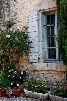 "provencetoujours: "" Joucas, Vaucluse, Luberon, Provence, France "" Like the colors. Luberon Provence, Provence France, French Country House, French Country Decorating, Country Life, French Cottage, Country Patio, Blue Shutters, Exterior Shutters"