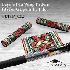 Peyote pen cover patterns, pattern for G2 pen by Pilot, pen wrap, peyote patterns, beading, peyote stitch, digital file, pdf pattern #011PG2