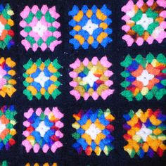 Vintage Granny Square Afghan Crochet Blanket by CafeChaCha on Etsy