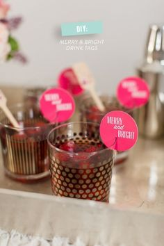 Cute way to the in your signature drink with your overall theme - Drinks tags!