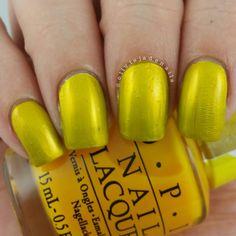 OPI Primarily Yellow (over OPI Silver Canvas) swatched by Olivia Jade Nails