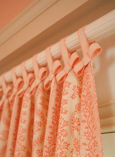 bows on tab curtains - amy meier design- great detail for a girls room Colorful Curtains, Drapes Curtains, Valances, Nursery Curtains, Peach Curtains, Curtains With Loops, Cottage Curtains, Window Coverings, Window Treatments