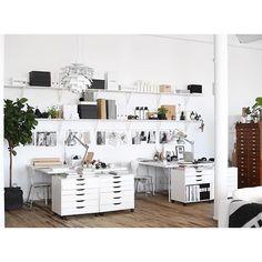 Home Office Studio Creative Workspace Ikea 61 Trendy Ideas Design Studio Office, Workspace Design, Office Workspace, Office Interior Design, Office Interiors, Ikea Office, Home Office Space, Home Office Decor, Office Furniture