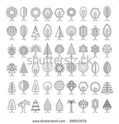 Tree icons set. Linear style. Vector illustration. - stock vector