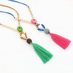 "Criss cross ""X"" bar Necklace, Gold bar Necklace, Tassel Necklace, Long Necklace, Stone Necklace, Lava stones, Long Pendant"
