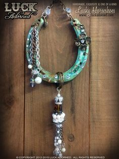 """""""REGALIA"""" is a beautiful, one of a kind horseshoe featuring our very special, signature hand patina finishes with lots of special touches and extra love. It has a Swarovski crystals in topaz and white"""