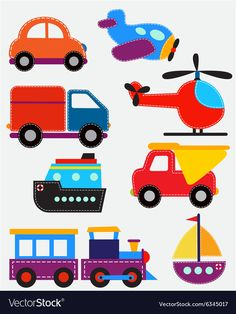 Set of transport toys vector image on VectorStock Toddler Crafts, Preschool Crafts, Helicopter Birthday, 2nd Birthday Party For Boys, Free Quilling Patterns, Logos Retro, Vintage Logos, Baby Cartoon Drawing, Baby Sensory Board