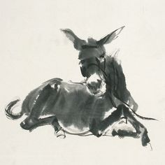"Ashmolean Advent Calendar Day 24 - ""Little donkey, on the dusty road"" - A detail from a painting by Huang Zhou (1925-1997) of eight donkeys. Ink on paper. Find out more: http://jameelcentre.ashmolean.org/object/EA1983.218"
