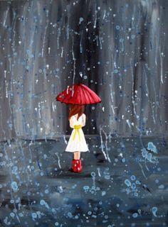 Red umbrella young lady walking in rain painting Umbrella Art, Under My Umbrella, Walking In The Rain, Singing In The Rain, Decoupage, I Love Rain, Girl In Rain, Rain Dance, Rain Painting