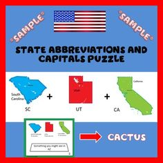 FREE SAMPLE! Identify U.S. states, review and practice state capitals and abbreviations with a fun twist! Each task card contains two or more states for students to figure out the correct abbreviations, and then unscramble the letters to find a word that answers the given clue.**NOTE: this is a free sample.