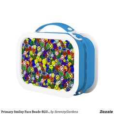 Primary Smiley Face Beads-BLUE-KIDS LUNCH BOX #zazzle #lunchbox #primarycolors #smileyfaces
