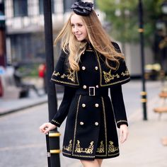 the best Female winter coat Pink Doll 2014 slim luxury gold embroidery thread cloak two piece wool coat Winter Jackets Women, Coats For Women, Clothes For Women, Estilo Indie, Mode Hijab, Character Outfits, Coat Dress, Mode Style, Military Fashion
