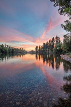 Spokane River Sunset - 2 by — Wa. Beautiful Sunset, Beautiful World, Beautiful Places, Beautiful Pictures, Simply Beautiful, Spokane River, Evergreen State, Washington State, Spokane Washington