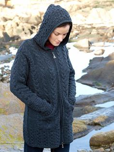 """HD4025 Hooded Long Cardigan """"Sweetie"""" Coat with Celtic Knot Zipper. Nice cold weather sweater. Aran Crafts brand apparel sweater. Fine Quality Irish Made Womens Wool Sweater for a woman. Imported from Ireland. Similar to the Custo """"brit black"""" style 84 259 0838 A25"""