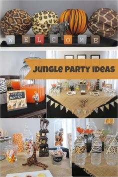 19 Jungle Safari Themed Boy Party Ideas This jungle safari-themed party makes great use of animal prints! Safari Jungle, Jungle Theme Parties, Safari Birthday Party, Jungle Party, First Birthday Parties, Birthday Ideas, Lion King Baby Shower, Animal Prints, Animal Print Party