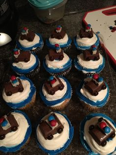 Birthday boy cupcakes with candy police car toppers