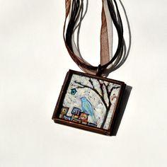 Original Wearables  Handpainted Bird Necklace  von danamarieart, $38.00