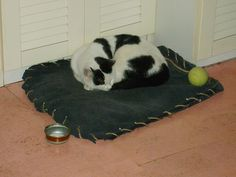 great idea for pet bed but would sew instead.  TURN SOUND DOWN if you watch video.