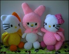 hello kitty my melody and hello kitty amigurumi