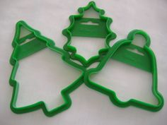 Three Large Green Wilton Cookie Cutters: Tree by RetroSpecial