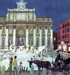 Images from M. Šašek's This Is Rome (1960). We see the Pantheon,  the Colosseum, St. Peter's Basilica, the Trevi Fountain, and the Spanish Steps, among other sights.