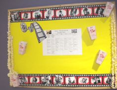 This Bulletin board has a film reel of old time Hollywood stars & real strung popcorn. Popcorn Decorations, School Decorations, Hollywood Theme Classroom, Classroom Themes, I School, School Stuff, Star Bulletin Boards, Film Reels